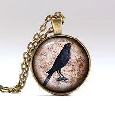 Bird necklace Gothic charm Crow jewelry RO1678 by UKnecklace