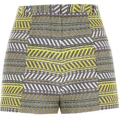 River Island Yellow print jacquard high waisted shorts (224.445 IDR) ❤ liked on Polyvore featuring shorts, bottoms, short, pants, sale, women, yellow, high rise shorts, print shorts and high-rise shorts