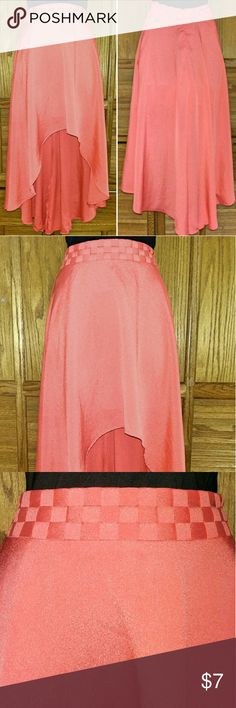 Coral High Low Skirt l Size S Coral High Low Skirt. Lined. Size Small.    Bundle multiple purchases to avail discounts and save on shipping. Happy Poshing! Skirts
