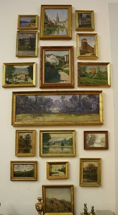 Eclectic Gallery Walls desire-to-inspire-French-art-gallery-wall French Paintings, Vintage Paintings, Art Paintings, Vintage Art, Nature Paintings, Vintage Prints, Hanging Paintings, Small Paintings, Vintage Frames