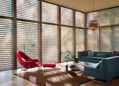 We sell, install and repair Hunter Douglas Silhouette Shades in Denver, Boulder & surrounding areas. Full range of Hunter Douglas shades available. Modern Blinds, Contemporary Windows, Modern Window Treatments, Living Room Blinds, Modern Windows, Living Room Remodel, Blinds For Windows, Window Coverings, Blinds Design