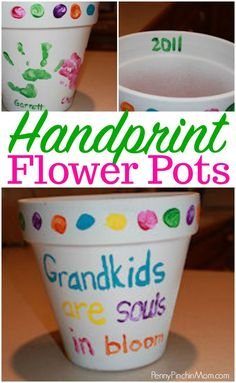 Fun grandparent's day gift idea!! Make this handprint flower pot for grandma or grandpa! This is a fun DIY craft that the kids will absolutely love to make! It even works for Mother's Day or Father's Day - because who doesn't want to preserver little handprints forever?!? Grandparents day gift idea | Mother's Day gift | Father's Day Gift | gift ideas | homemade gifts | gifts kids can make | kids crafts | kids DIY #grandparents #mothersday #fathersday #handprintgifts #DIYCraftsMom