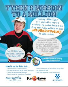 Kids Needed to Help Tysen years old) Complete His Mission of Raising one Million Dollars for Make-A-Wish! One Million Dollars, One In A Million, Wish Kids, Make A Wish, How To Make, 13 Year Olds, Kids Online, Local News, Raising Kids