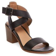 With an on-trend block heel and chic crisscrossing straps, these Women's Lindsay Criss Cross Heeled Quarter Strap Sandals in Merona add striking style to your dressed-up summertime looks. Black Block Heel Sandals, Block Sandals, Black Strappy Heels, Strappy Sandals Heels, Ankle Strap Sandals, Leather Sandals, Black Shoes, Shoes Heels, Criss Cross
