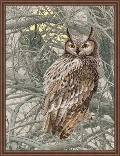 """Counted Cross Stitch Kit MAKE YOUR OWN HANDS C-44 /""""Owl/"""""""
