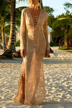 Women's Tan Sheer Long Cover Up, INstyle fashion Instyle Fashion, Nyc Fashion, Fall Fashion Trends, Fashion Boots, Womens Fashion, Womens Beach Cover Ups, White Beach Cover Up, Swimsuit Cover Ups, Colorful Fashion