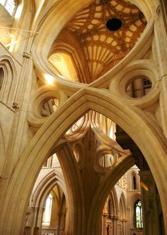 The incomparable inverted arches of Wells Cathedral in Somerset. Wells Cathedral is the most visually stunning of all of Englands medieval gothic treasures. Thesui generisinverted arches at the Crossing under the lantern are emotive expressions in stone. ( Note the elements of Perpendicular Gothic in the pendentives above them - a later, 15th century addition.)The Bishop of Wells has the historic right - together with the Bishop of Durham - to stand alongside the English Sovereign thro