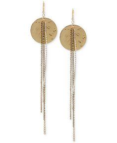 Betsey Johnson Two-Tone Metallic Disc and Chain Long Linear Drop Earrings