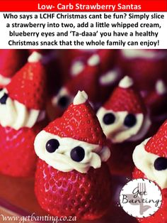 Have some fun this Christmas! These strawberry Santas will be a great hit with your guests. Re-pin for later! Banting, Lchf, Strawberry Santas, Christmas Snacks, Have Some Fun, Whipped Cream, Blueberry, Low Carb, Cooking Recipes