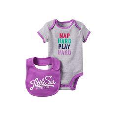 "Baby Girl Carter's ""Nap Hard Play Hard"" Bodysuit & ""Cutest Little Sis Ever"" Bib Set, Size: 24 Months, Light Grey"