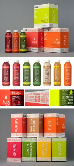 Suja Juice cleanse - Just finished my cleanse. I lost 3 pounds and the juices are delicious! I'm stocking my fridge with this stuff for sure. Juice Branding, Juice Packaging, Cool Packaging, Beverage Packaging, Bottle Packaging, Packaging Design, Brand Packaging, Suja Juice Cleanse, Juice Clense