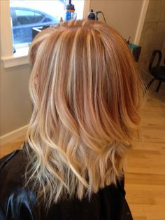 strawberry blonde ombré. Love it!!                                                                                                                                                      More