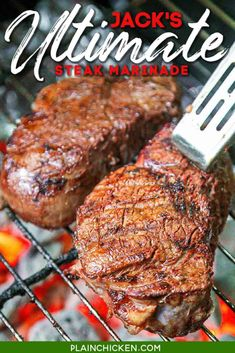 Jack's Ultimate Steak Marinade - steaks marinated in red wine, chili sauce, red wine vinegar, Worcestershire sauce, onion, garlic, salt, pepper, and a bay leaf. This marinade is seriously delicious! Our new go-to marinade. TONS of great flavor!! #marinade #steak #grill #redwine #chilisauce Steak Marinade Recipes, Meat Marinade, Marinated Steak, Grilling Recipes, Meat Recipes, Cooking Recipes, Marinade Chicken, Game Recipes, Barbecue