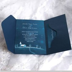 Don't mind the winterness (although it does say 'starlight'), I like the pocket style -- Brilliant Starlight Pocket Wedding Invitation UKPS035