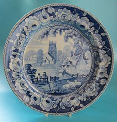 Antique Pearware Blue and White Transfer Printed Plate Farmer Sheep Church