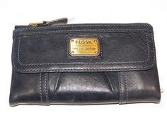 Fossil SL2931406 Emory Clutch Midnight Navy blue Leather clutch Wallet NWT*^ #Fossil #Clutch