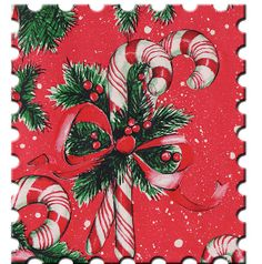 Candy Cane Postal Stamp - The world's most private search engine Vintage Christmas Wrapping Paper, Christmas Paper, Christmas Love, Christmas Images, Merry Christmas, Vintage Stamps, Vintage Cards, Vintage Paper, Vintage Postcards