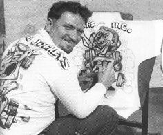 Early Big Daddy – hand airbrushing Monster Shirts, pre-Fame and screenprint days. Above right, Justifiably Proud Big D with Outlaw, Rat Fink, Ed Roth Art, Cowgirl Photo, Robert Williams, Old Race Cars, Beatnik, Kustom Kulture, Lowbrow Art, Pinstriping