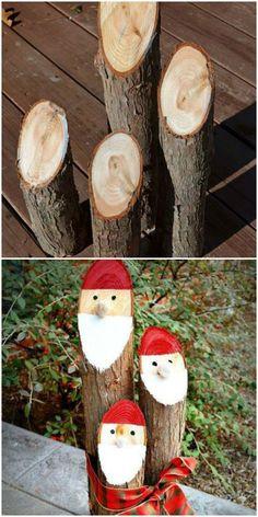 Dress up a wooden log as a mini Santa Claus.