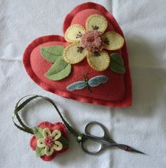 Heart with Flowers Pincushion