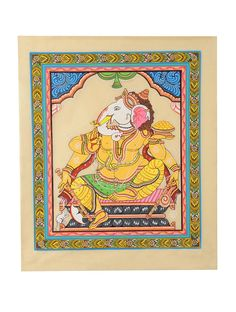 Multicolor Pattachitra Ganesha Avayadan Mudra on Silk 22in X 18in Art Traditional Textile Divine Scroll Paintings in & Palm Leaves from Odisha Online at Jaypore.com Kalamkari Painting, Madhubani Painting, Silk Painting, Indian Traditional Paintings, Indian Paintings, Shri Ganesh, Lord Ganesha, Hanuman, Ganesha Painting