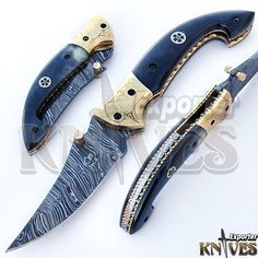 Andy Alm Knives Exporter New Damascus Steel Folding Knife, Bone Handle KE-F29 #KnivesExporter