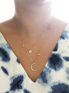 Star and Crescent Moon Necklace Layered Necklace Gold by Muse411