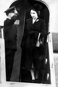 Queen Elizabeth II arriving in Britain from Kenya after the death of her father, 1952.