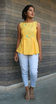 Yellow linen top for women/ Pleated linen top/ Loose top for women/ Made to order/ Custom made