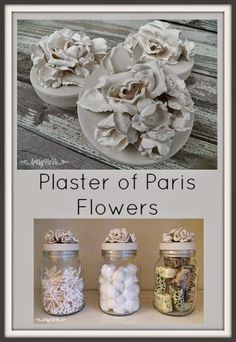 Artsy VaVa: Plaster Of Paris Flowers   This would be cute as a place card holder.