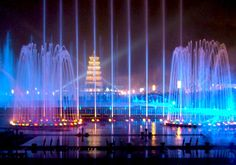 Spectacular Fountains from Around the World: Big Wild Goose Pagoda Fountains in Xian City, China