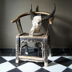 Carved Skull & Antique Chinese Chair