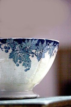 French vintage blue transfer-ware Café au Lait bowl love that soft color wall behind it with the blue too...