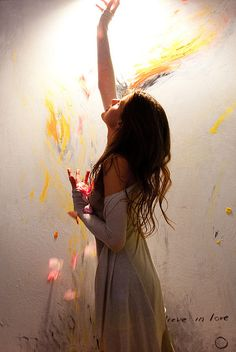 """Moments of Magic Soul. """"I catch in my hands  petals of beautiful roses  in the world of light I'm flying  in the world of paint and color  fill my heart  moments of love  I paint a world without rules  world of soul and kindness"""""""