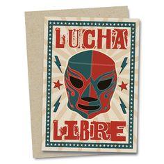 Lucha Libre Mexican Wrestler Greetings Card by NeedsAndWishesArt