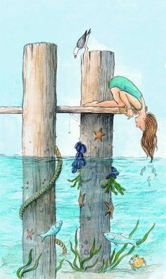 This looks like an adventurous illustration. It is a illustration. Children would love all the different sea creatures. Art And Illustration, Book Illustrations, Art Plage, Inspiration Art, Beach Art, Oeuvre D'art, Painting & Drawing, Beach Drawing, Watercolor Paintings