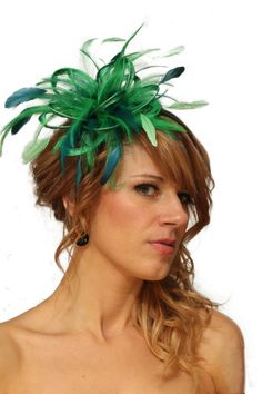 Emerald Green and Teal Feather Fascinator Hat