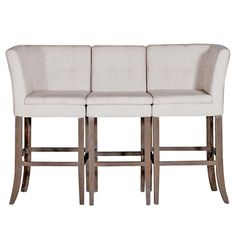 Cooper Conrad Tufted Linen Square Linen 3 Seat Bench Bar Stool | Kathy Kuo Home