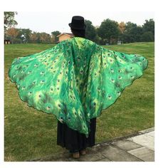 Woman's Peacock Feather Wing Cape Scarf Accessory #Unbranded