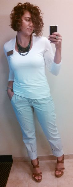 8/8/14--White shirt, grey loose pants, brown chunky heel, silver watch, monogrammed bracelet, green and blue collar necklace.