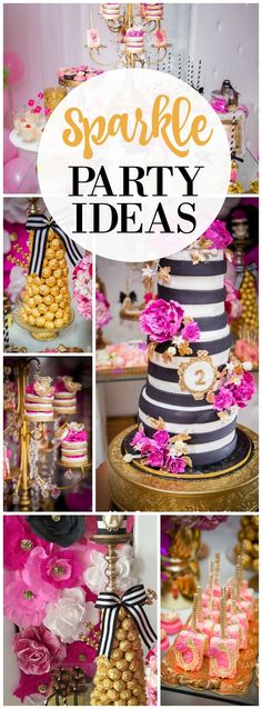 You must see this stunning sparkle party in black, pink and gold! See more party ideas at CatchMyParty.com!