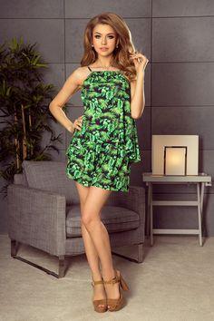 a6367d66d8 197-1 Komplet - luźna bluzka + spodenki na gumce - zielone liście
