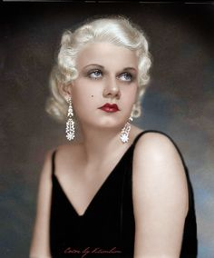 Jean Harlow - Old Hollywood - Hand-tinted photo. Old Hollywood Movies, Hollywood Icons, Old Hollywood Glamour, Golden Age Of Hollywood, Vintage Hollywood, Hollywood Stars, Classic Hollywood, Hollywood Divas, Hollywood Cinema