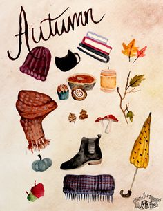 "hannahmargaretillustrations: "" Few of my favorite aspects of fall! Watercolor """