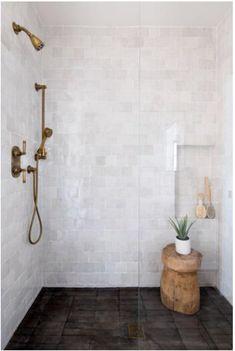 Master Shower Tile, Bathroom Shower Tiles, Shower Floor Tile, Bathroom Shower Remodel, Wood Look Tile Bathroom, Bathroom Vanities, Big Shower, Dark Tiled Bathroom, Bathtub In Shower