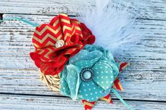Fancy and Glam - fabric handmade flower headband turquoise teal red gold baby headband little girl headband persnickety m2m matilda jane on Etsy, $16.00