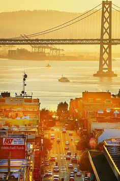 Broadway With Bay Bridge In The Background at Sunrise