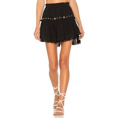 MISA Los Angeles Parnille Skirt (280 AUD) ❤ liked on Polyvore featuring skirts, embroidered skirt, eyelet skirt, frill skirt, frilly skirt and flounce skirt