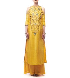 Yellow Raw Silk Embroidered Kurti With Palazzos