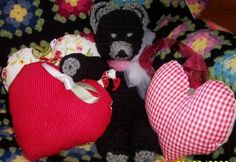 Red heart lavender sachets with black crochet bear